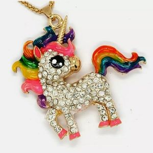 Colorful Enamel Crystal Unicorn Horse Betsey Johns